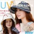 画像1: 【宅配便】【折りたためる サンバイザー】5カラー つば広 UVハット 紫外線対策 日焼け止め UVカット レディース 帽子 Free size (1)
